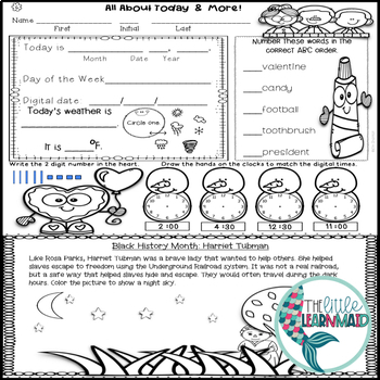 February Morning Work All About Today First Grade by The