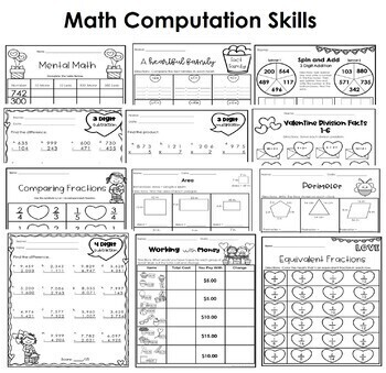 February No Prep Math- 3rd Grade by Pencils and