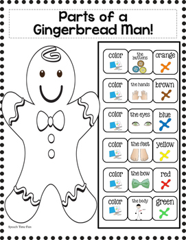 Feed The Gingerbread Man File Folder Activities by Speech