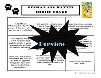 Fenway and Hattie Choice Board Novel Study Activities Menu
