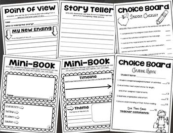 Fiction Choice Board Activities Menu Tic Tac Toe Reading
