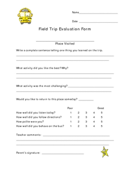 Field Trip Self Assessment Form for Elementary Students by Trail 4 ...
