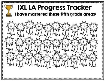 Fifth Grade IXL Language Arts Tracker by Lockwood's Little