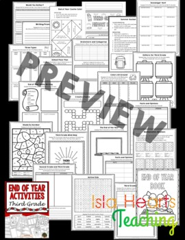 3rd Grade End of Year Activities (3rd Grade Last Week of