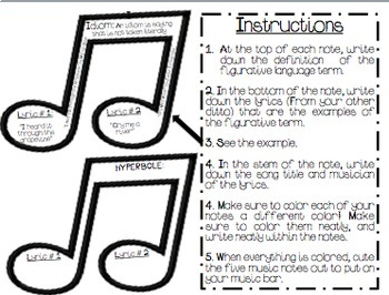 Figurative Language, Craftivity, Song Lyrics, Music by