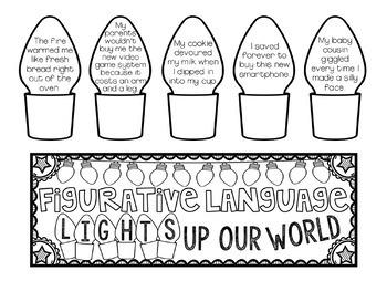 Figurative Language Holiday Light Craftivity {Similes