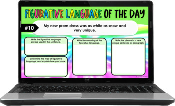 Figurative Language of the Day Printables {4th-5th Grade
