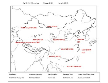 Fill in the blank China map by Middle School World History