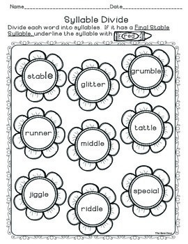 Final Stable Syllable: Student Notebook Practice Pages for