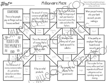 Financial Literacy Maze 4th and 5th grade TEKS by Will