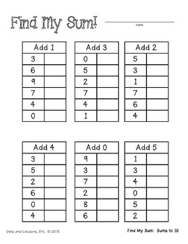 Using Input and Output Tables with Basic Addition by Owls