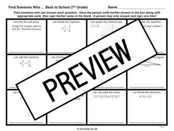 Find Someone Who: 7th Grade Math Version by Activities by