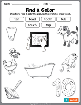 Articulation Worksheets: Initial Consonant Deletion