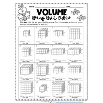 Finding Volume Using Unit Cubes Color by Number Spring