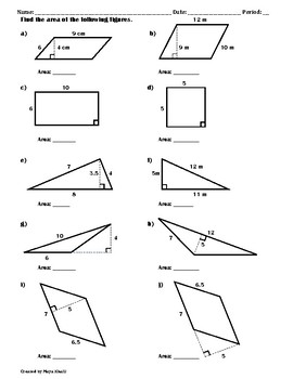 Finding The Area Of Polygons Worksheet Ii By Maya Khalil