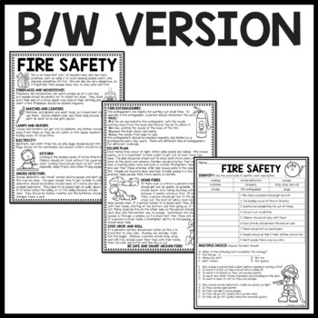 Fire Safety Reading Comprehension Worksheet by Teaching to