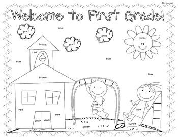 First Day Coloring Worksheet {1st Grade} by Christine