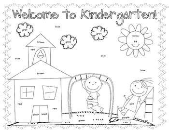 First Day Coloring Worksheet {Kindergarten} by Christine