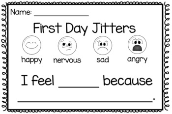 First Day Jitters Exit Ticket (First Day Activity for K