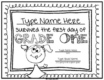 First Day of School Certificate (First Grade) Editable by