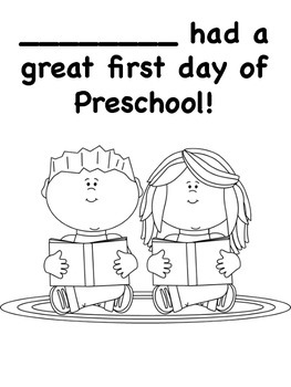 First Day of Preschool Coloring Pages by Miss P's PreK