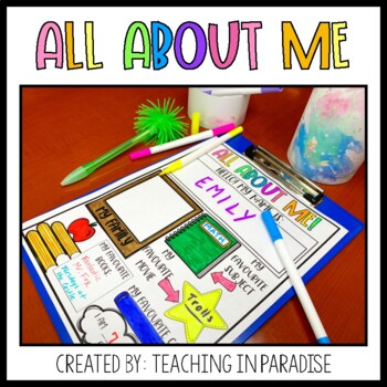 First Day of School: All About Me! by Teaching in Paradise