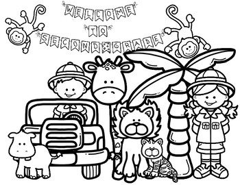 First Day of School Coloring Pages: Jungle/Safari K-2 by