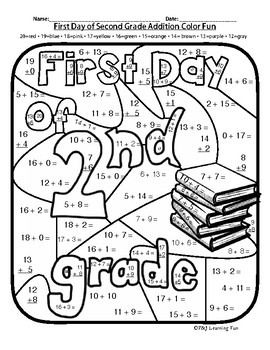 First Day of Second Grade Addition Color Fun by Pride and