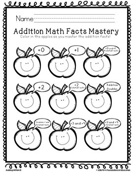 First Grade Timed Tests- Addition Within 10- Common Core