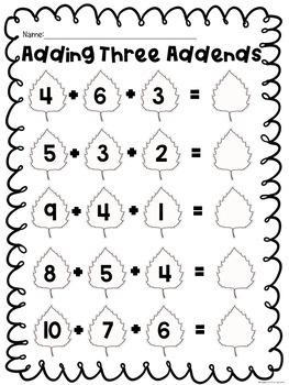 First Grade Fall Math Worksheets: No Prep by
