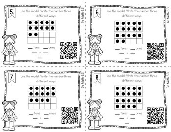 First Grade Math Task Cards: Count and Model Numbers by