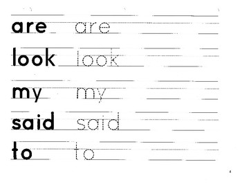 First Grade High Frequency Site Word Handwriting Practice