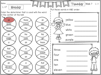 First Grade Language Arts Homework Bundle by Frogs Fairies