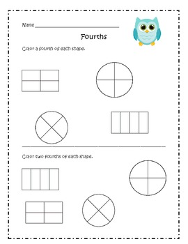 First Grade Math Common Core Fractions 1.G3 by Education