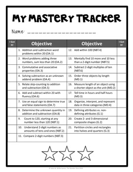 First Grade Math Student Mastery Tracker, Self-Tracker