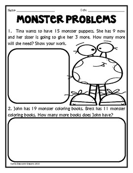 First Grade Math NO PREP Monster Theme by Sunny Days and
