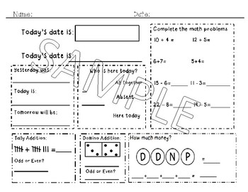 *Revised* First Grade Morning Work Simple for special and