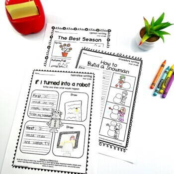 First Grade Writing Worksheets/Prompts Bundle (Opinion