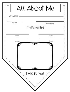 First Week Activities: All About Me Pennant Booklet and