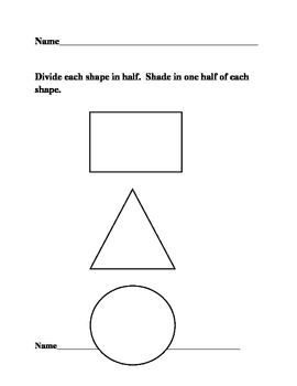 First grade EM, chapter 8, one half of shapes, fractions