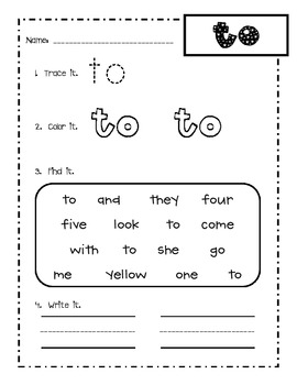 First grade Fry words 1-25 sight word practice worksheets