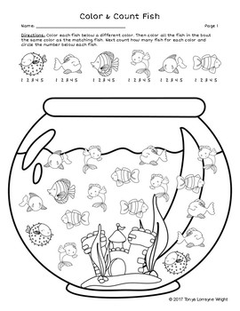 Fish Bowl: Free Color and Count No Prep Worksheet by Tonya