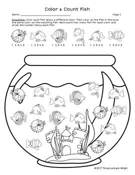Fish Bowl: Free Color and Count No Prep Worksheet by Tonya