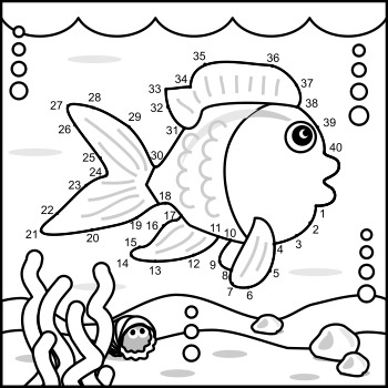 Fish Connect the Dots Puzzle and Coloring Page, Commercial