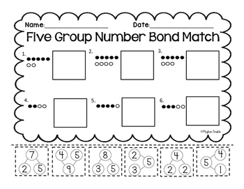 Five Group Number Bond Match- Cut and Paste- Common Core