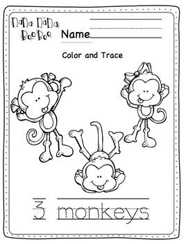 Five Little Monkeys Swinging in a Tree Printable by