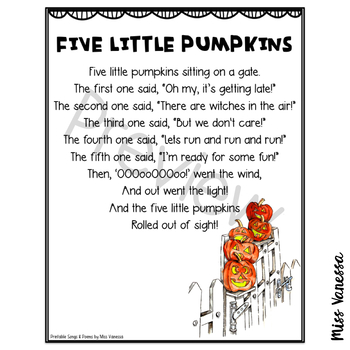 Five Little Pumpkins Printable Poem, Halloween Poetry for