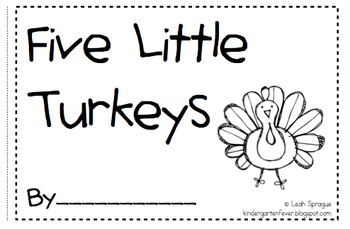 Five Little Turkeys Emergent Reader by Kindergarten Fever
