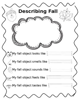 Five Senses Fall Adjectives Worksheet