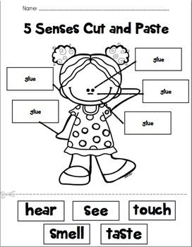 Five Senses Labeling Cut and Paste by PreKinders in